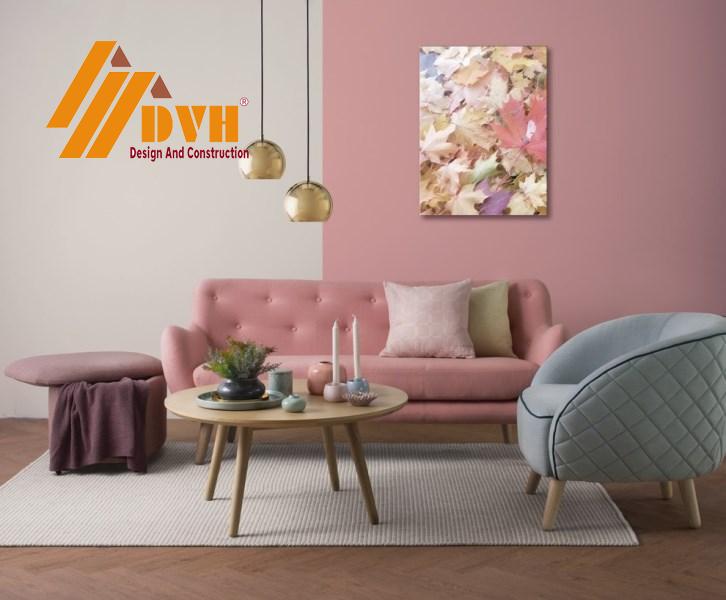 Màu hồng pastel nhẹ nhàng cho phòng khách