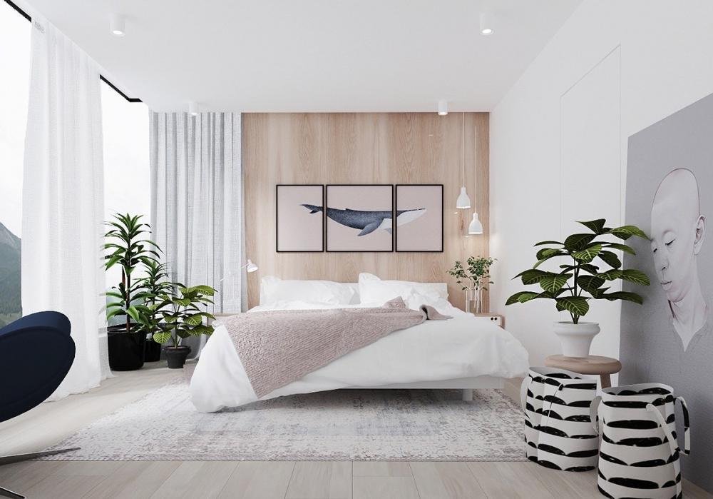 Trang thi thêm cây cối cho không gian phòng ngủ